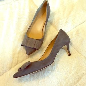 Talbots gray suede kitten heels with bows! Comfy!